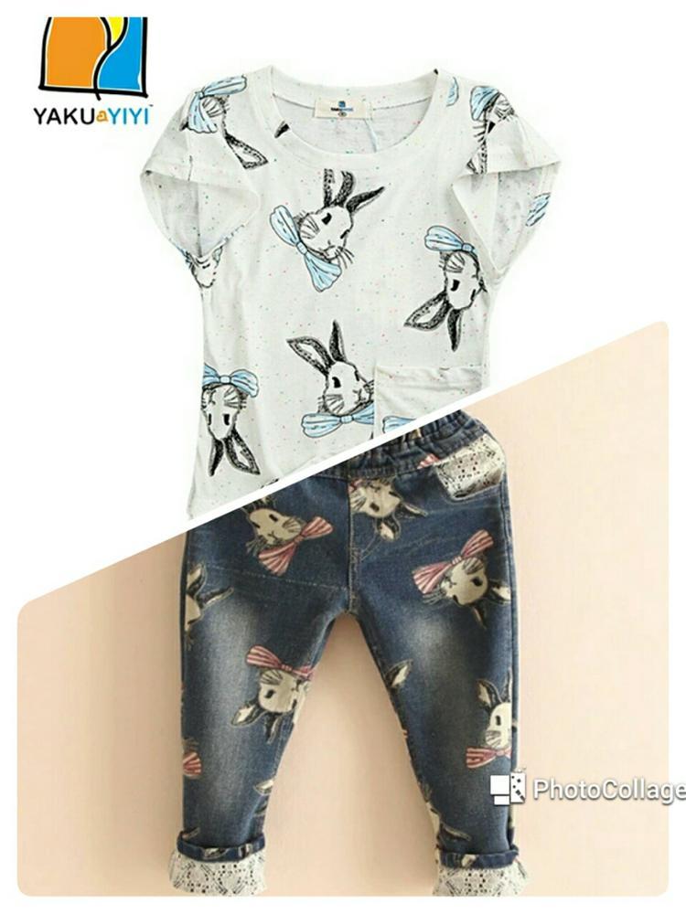 Детские джинсы и футболка с зайками с Алиэкспресс