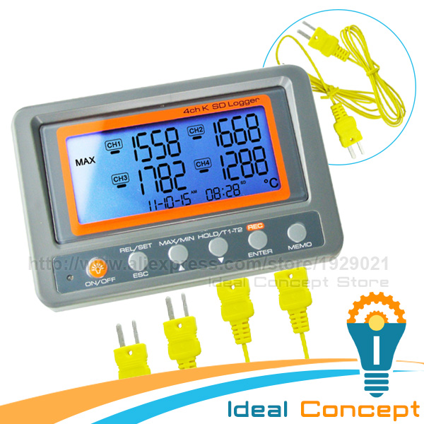 4 Channel -328~2498 degree C/F K-Type Thermocouple 2GB SD Card Temperature Wallmount Thermometer Logger