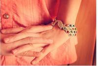 элегантный позолоченный мода красочные горный хрусталь павлиньи браслеты для женщин шарма ювелирных изделий b123 В4.35