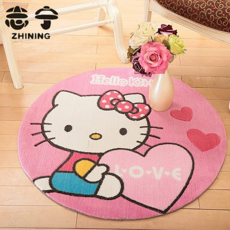 1 PC round Hello Kitty carpet for living room environmentally cartoon Mickey Mouse pattern children baby mat free shipping Y-459