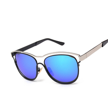 Fashion Cat eye Sunglasses brand designer Women's Elegant Metal Frame Colors Glasses