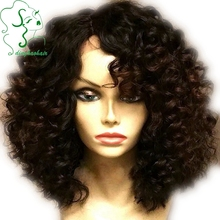 150% Brazilian Short Full Lace Wigs Human Hair Glueless Kinky Curly Lace Front Wigs With Middle Part Curly Wigs For Black Women