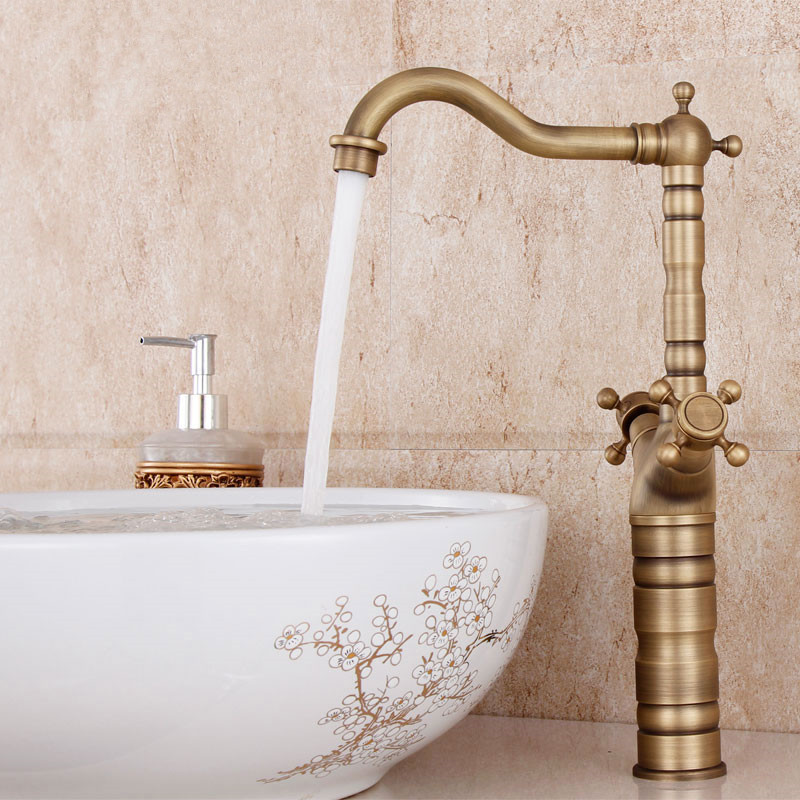 High Quality Sink Tap Antique Brass Bathroom Counter Basin Hot and Cold Taps Dual Handle Single Hole Retro Basin Faucet micoe hot and cold water basin faucet mixer single handle single hole modern style chrome tap square multi function m hc203