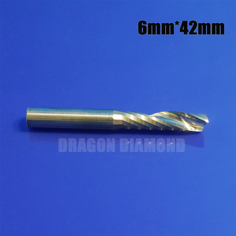 5pcs 6mm x42mm one flute milling Cutter Tools Cnc Bits Single Flute Spiral Router Carbide End