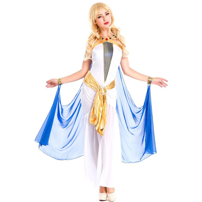 Woman Halloween Ancient Greece Goddess Athena Costume Queen of Egypt Cosplay Cleopatra Role play Carnival Masquerade party dress