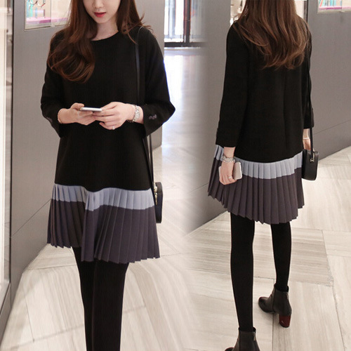 Winter Loose Long Section Sweater Pleated Dress Patchwork Striped Pleated Sweater Party Dresses Female sweater dress