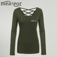 Meaneor T Shirt Women Black Long Sleeve Solid Slim Fit Pocket S M L XL Casual