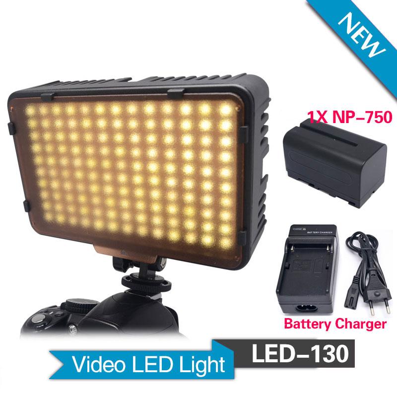 цена на Mcoplus 130 LED Video Light with 1 x NP-F750 Battery for Canon Nikon Sony Pentax Panasonic Samsung Olympus & DV Camera Camcorder