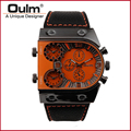 HP9315 Black Case Men Watch Sports Watch High Quality Brand Oulm Buckle Watches men Male Wristwatch Multiple Time Zone Analog