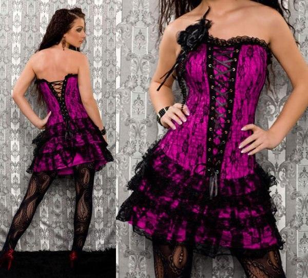 7e3b98152a Hot sale black red blue white rose pink corset dress costume