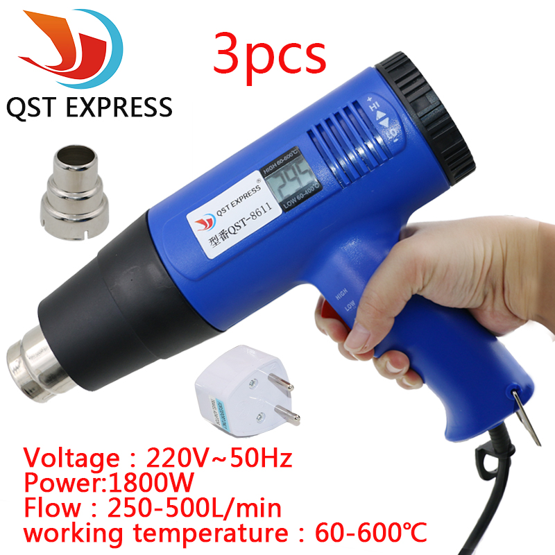 1800 Watt 220V EU Plug Industrial Electric Hot Air Gun Thermoregulator Heat Gun Heatguns Shrink Wrap Digital thermostat LCD DIY