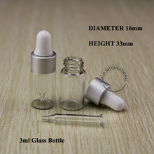 Essential Oil Bottles 3ml Clear Glass Dropper Bottle Jars Vials With Pipette Silver Cap For Cosmetic Perfume Free Shipping 30pcs