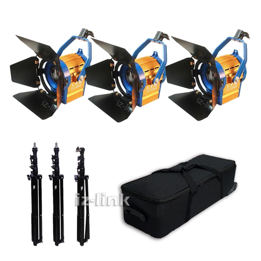 Kit Bi-color 3 pcs 100W LED Studio Fresnel spot Light 3200-5500K Dichroic Filter