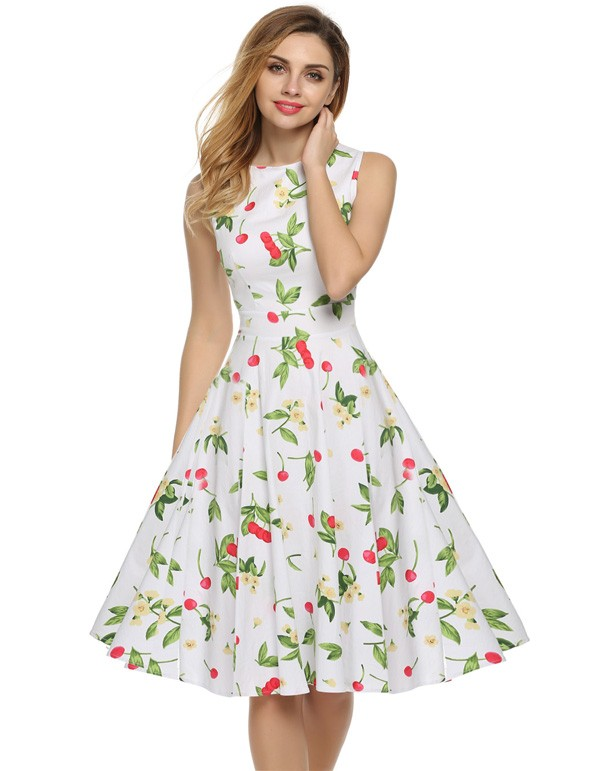 ACEVOG Women Dress Retro Vintage 1950s 60s Rockabilly Floral Swing Summer Dresses Elegant Bow-knot Tunic Vestidos Robe Oversize 10