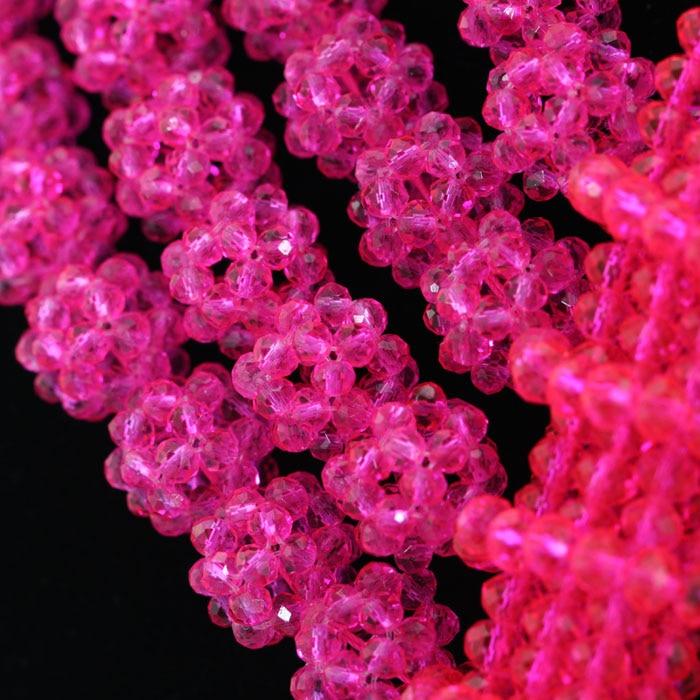 Belas Jóias Rose Pink Crystal Moda Africano Conjunto de Jóias Frisado Indiano Conjunto De Jóias de Noiva 2017 Frete Grátis WD009 - 4