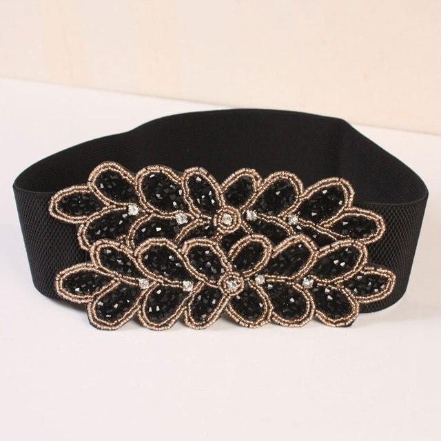 Модный широкий пояс женский хан издание оптовая ремень черный алмаз талии украшения шутник эластичный пояс Y017