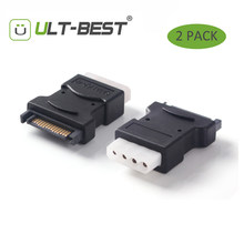 ULT-Best 2 Pack 15Pin Sata Serial ATA Male to Molex IDE 4 Pin Female M-F Hard Drive Adapter Power Cable Line Power(China)