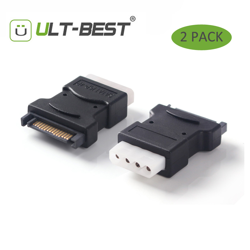 ULT-Best 2 Pack 15Pin Sata Serial ATA Male to Molex IDE 4 Pin Female M-F Hard Drive Adapter Power Cable Line Power 2pcs lot wholesale serial 20cm 18awg 4 pin ide molex to 2 15 pin sata ata hdd power adapter cable free shpiinng