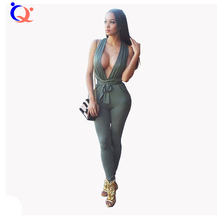 New Sexy Women Jumpsuit Rompers Backless Women Jumpsuits 2016 Tight Long Pants Sexy V-neck Bandage Jumpsuit Upper Outer Garment