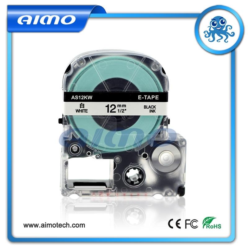 1 Stks 12mm Compatibel Lk-4wbn Zwart Op Witte Tape Voor Epson Gemaakt In China Groothandel Hoog Gepolijst