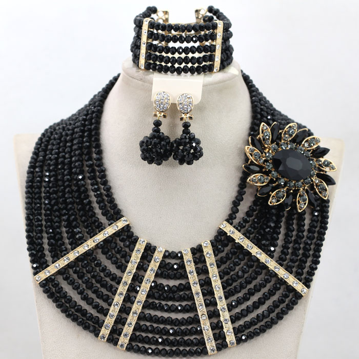 Black African Beads Chunky Jewelry Set Dubai Gold Costume Choker Necklace Set African Party Jewelry Free Shipping WA819Black African Beads Chunky Jewelry Set Dubai Gold Costume Choker Necklace Set African Party Jewelry Free Shipping WA819
