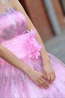 высокое качество свадебное платье длиной до пола платье невесты развертки щетка-поезд рукавов без бретелек с бантом цветок 081
