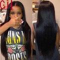 7A Recta Sedosa Del Frente Del Cordón Humano Pelucas de Cabello Humano Virginal Malasio Glueless del pelo Pelucas Llenas Del Cordón para Las Mujeres Negras con el Pelo Del Bebé