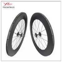 China 700C Toray Carbon Track Bike Wheels High Profile 88mm X 23mm Wide Carbon Fixed Gear