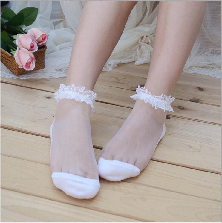 Short Calcetines Lace Crystal Socks Transparent Dance Socks Glass Socks