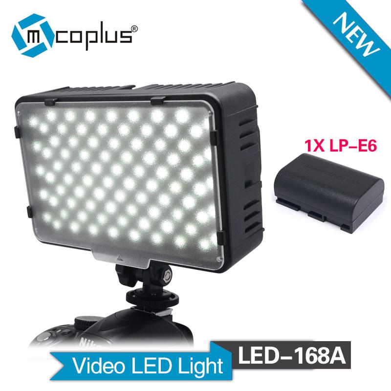Mcoplus LED 168A LED Video Light with 1x LP E6 Battery for Canon Nikon Sony Pentax Panasonic Samsung & DV Camera Camcorder|led video light|video light|led video - title=