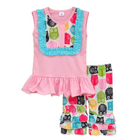 Cheap Price Toddler Girls Lovely Outfits Pink Bib Top Owl Pattern Shorts Factory Direct Sales Cotton Children Clothing S016