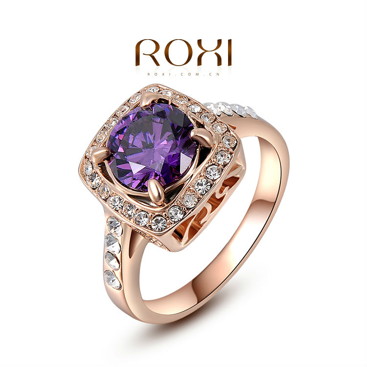 2017 ROXI Exquisite Rose Gold Color Purple Ring With AAA Zircon