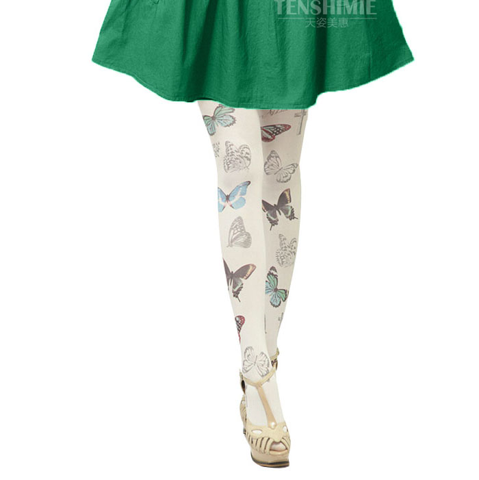 New lolita harajuku tights girls summer japanese tattoo butterfly pantyhose print kawii female tight