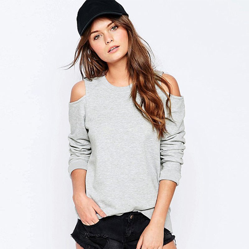 Aescondo 2017 Spring Woman Off The Shoulder Grey Basic Sweatshirt European Fashion Cut-o ...