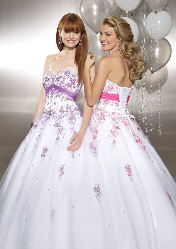 Free Shipping Classical Ball Gown White Tulle Purple Lace Applique ...