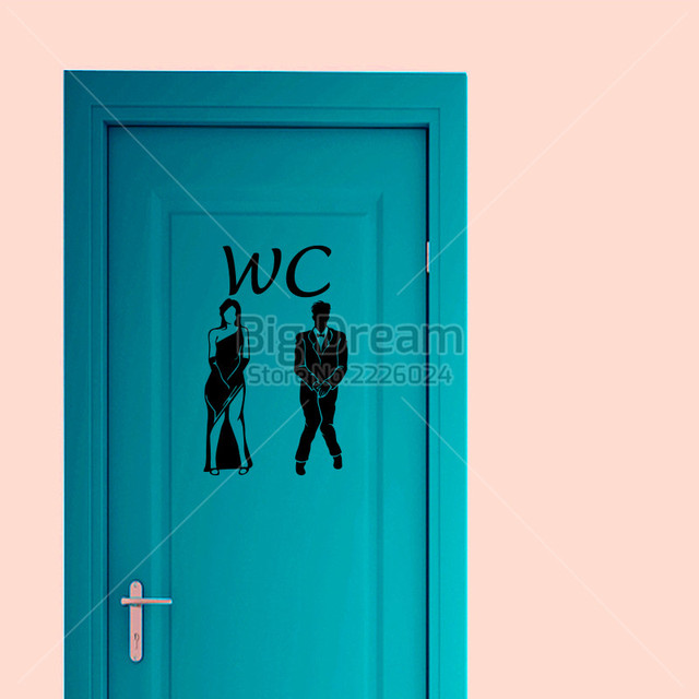 New Creative Door Decoration Toilet Sticker Funny Bathroom Wall Decals Home  Decor Free Shipping