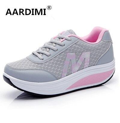 HOT 2016 de malla transpirable aumento de la altura de las mujeres zapatos de plataforma de la moda de primavera y verano zapatos casuales de aire mujer enredaderas zapatos 3 colores