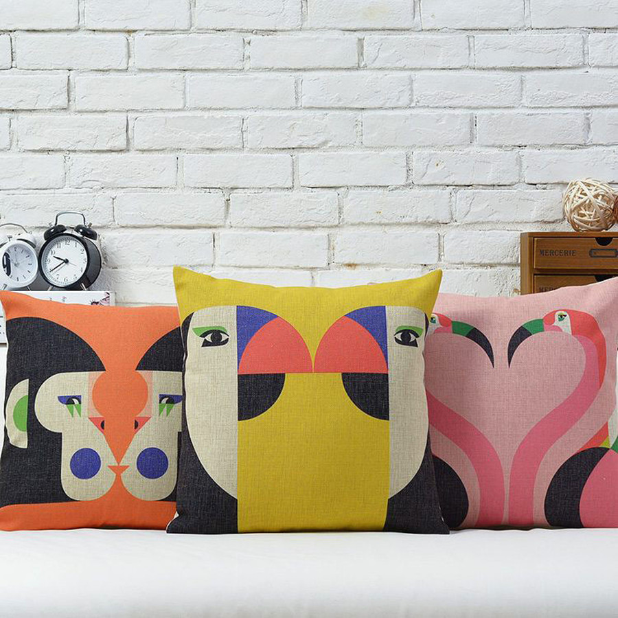 online buy wholesale washable throw pillow covers from china  - warm pillow cover geometric animal monkey parrot swan cotton linen throwpillows '' x