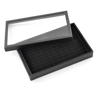 Doreen Box Paper Velvet Jewelry Rings Display Tray Rectangle Black 30cm 11 6 8 X 19cm