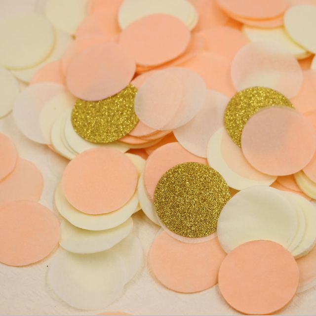 1 Inch Peach Cream Soft Paper Confetti And Gold Glitter Circle Birthday Party Decor