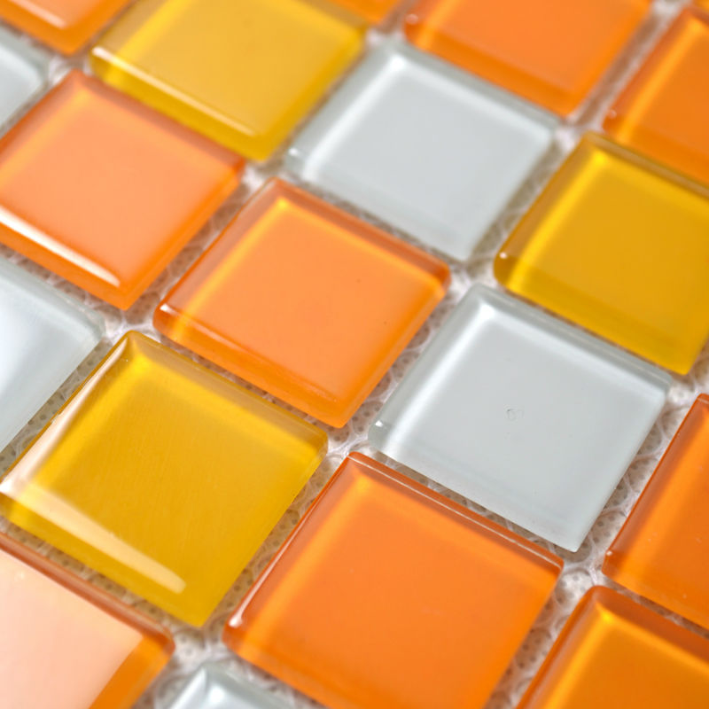 glass mosaic tiles white and orange mixed crystal glass tile kitchen backsplash wall tile stickers bathroom flooring mosaics b41
