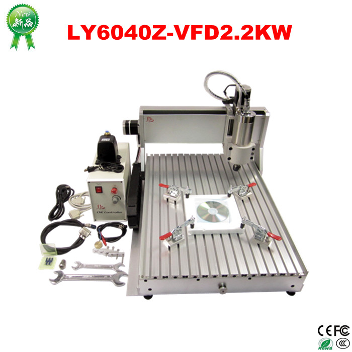 2.2KW 3 axis CNC router 6040 Z-VFD cnc milling machine with ball screw for Wood stone aluminum Bronze PCB, Russia free tax russia no tax 1500w 5 axis cnc wood carving machine precision ball screw cnc router 3040 milling machine