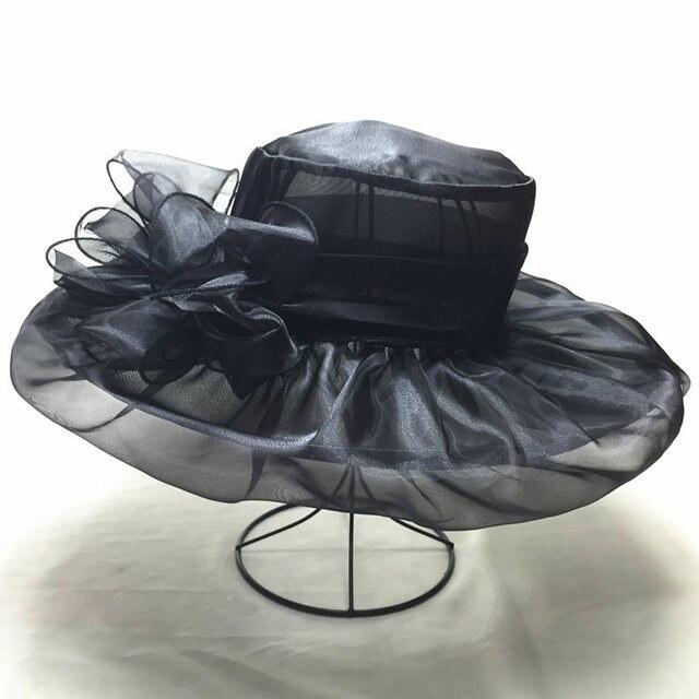 Uv doble capa de malla sombrero de la iglesia elegante ala ancha boda mar playa sombrero de sol envío gratis