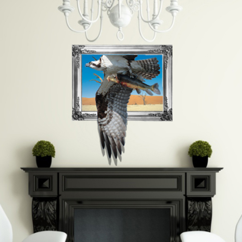 Removable Eagle Decoration Wall Stickers Home Decor Modern Animal For Decals 3D Sticker Kids Room