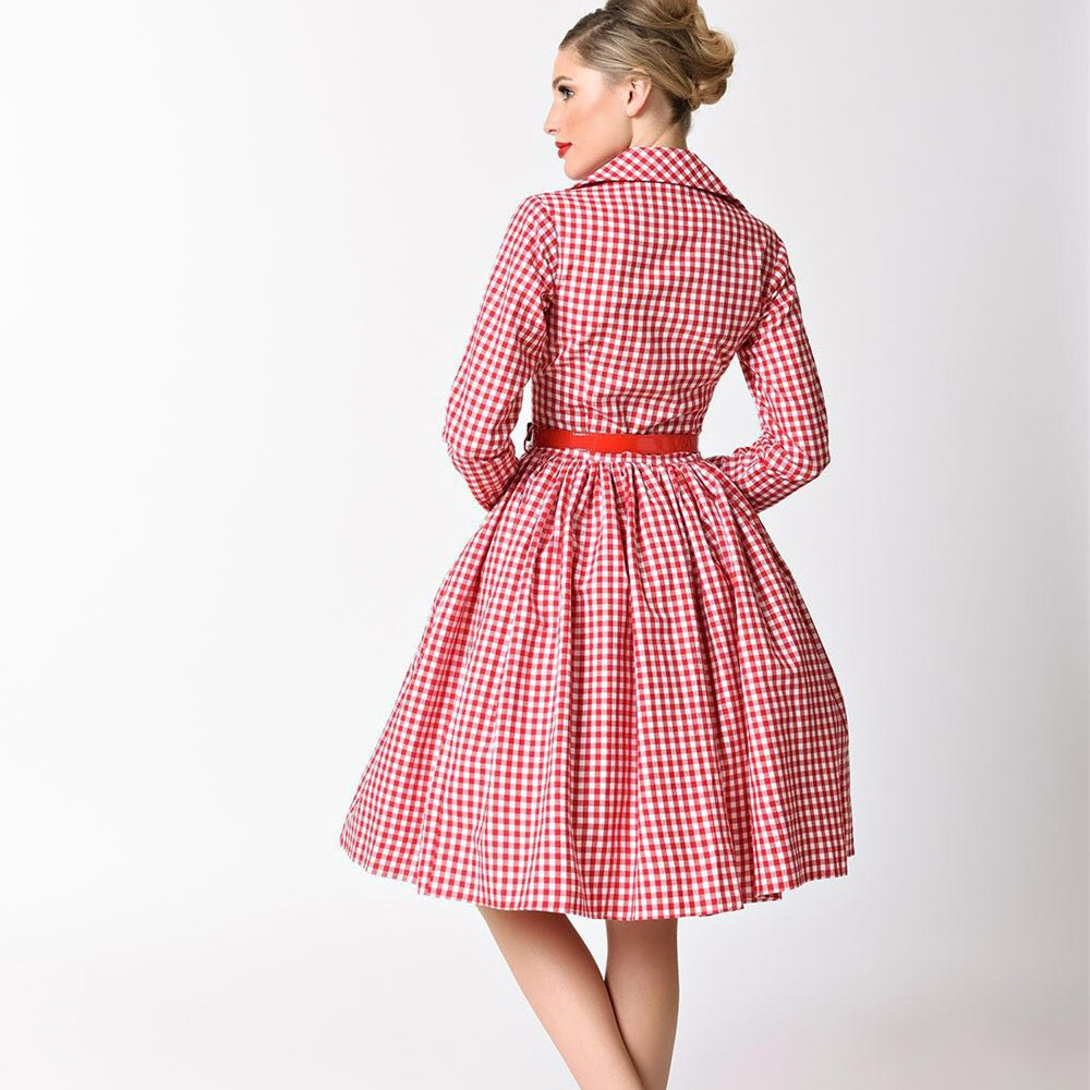 09b315fb30b2b summer women vintage 1950s red white gingham check long sleeve midi swing  dress rockabilly pinup vestidos plus size 4xl dresses-in Dresses from  Women's ...