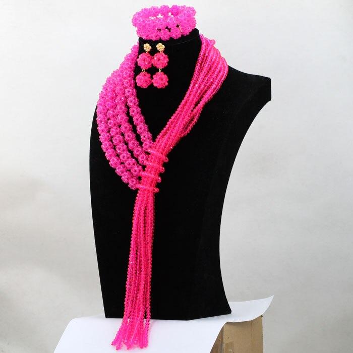 Belas Jóias Rose Pink Crystal Moda Africano Conjunto de Jóias Frisado Indiano Conjunto De Jóias de Noiva 2017 Frete Grátis WD009 - 2