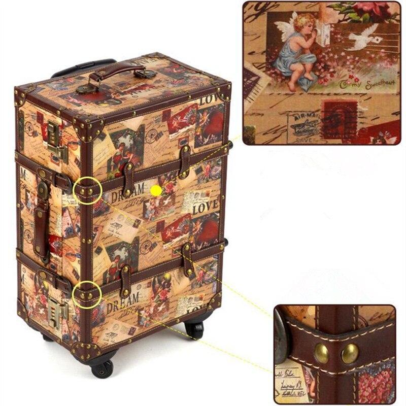14 20 24 inch чемодан Hardshell Искусственная кожа + дерево 4 Колёса Набор для путешествий тележка живопись кабина Чемодан Ретро доска шасси Сейф