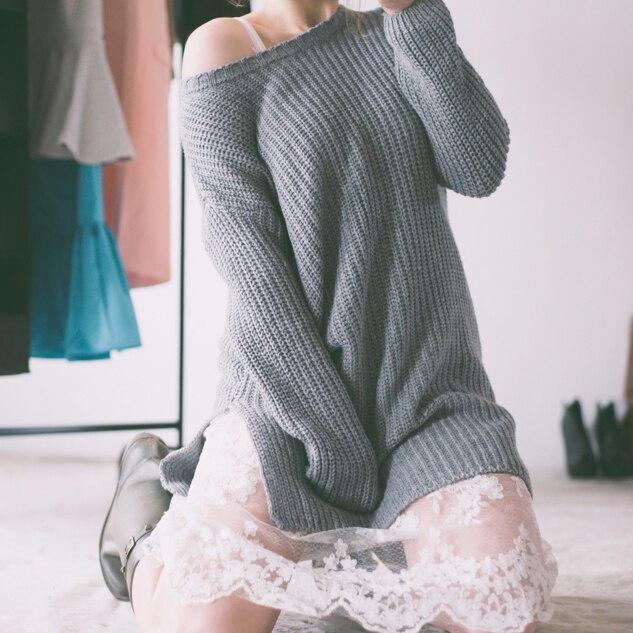 Удлиненный свитер с кружевной юбкой с Алиэкспресс