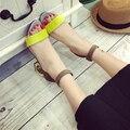 2016 verão maré Coreano palavra fivela grossa Sensuais Saltos do dedo do pé feminino roma calçados legal do sexo as mulheres sapatos de mulher de salto alto sandálias das mulheres