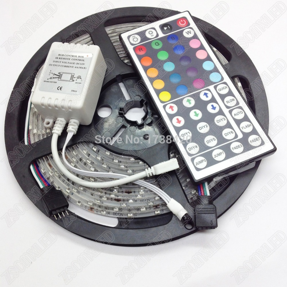 5M 300 LED RGB LED Strip Light 3528 SMD fita de LED Tape Lamps 12V 60 LEDs /M Waterproof + 44key Remote Controller, купить в Москве 2019